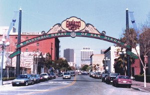 Gaslamp Quarter Archway in 1990. Photo Credit: Roy Flahive