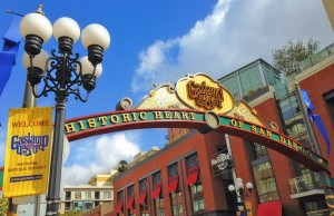 Gaslamp Quarter Archway, post-refurbishment in 2013. Photo Credit: Gaslamp Quarter Association