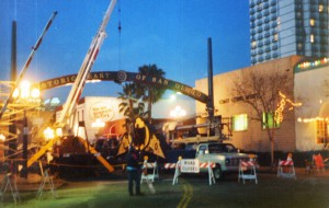Installing the Gaslamp Quarter Archway in 1990. Photo Credit: Roy Flahive