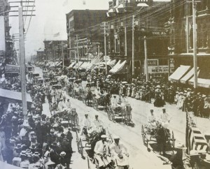 Late 1800s Parade on Fifth Avenue. Photo Credit: San Diego Historical Society