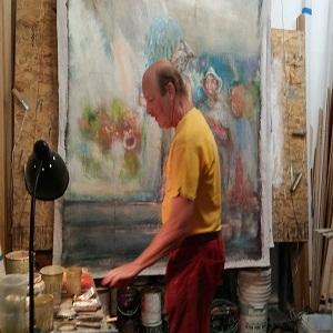 Hans Chobolits in the studio