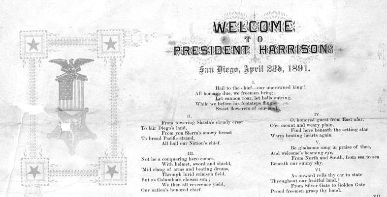 President Harrison Welcome certificate