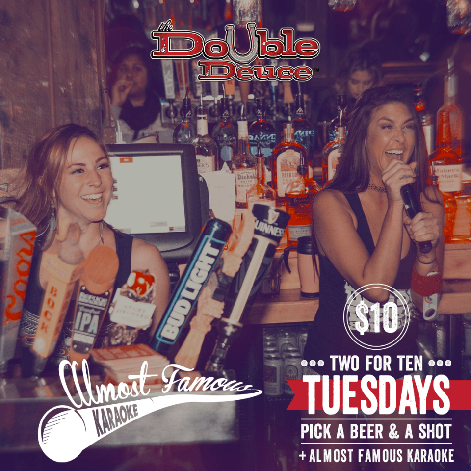 Double-Deuce-Tuesday-Karaoke-and-beer-and-shot gaslamp san diego