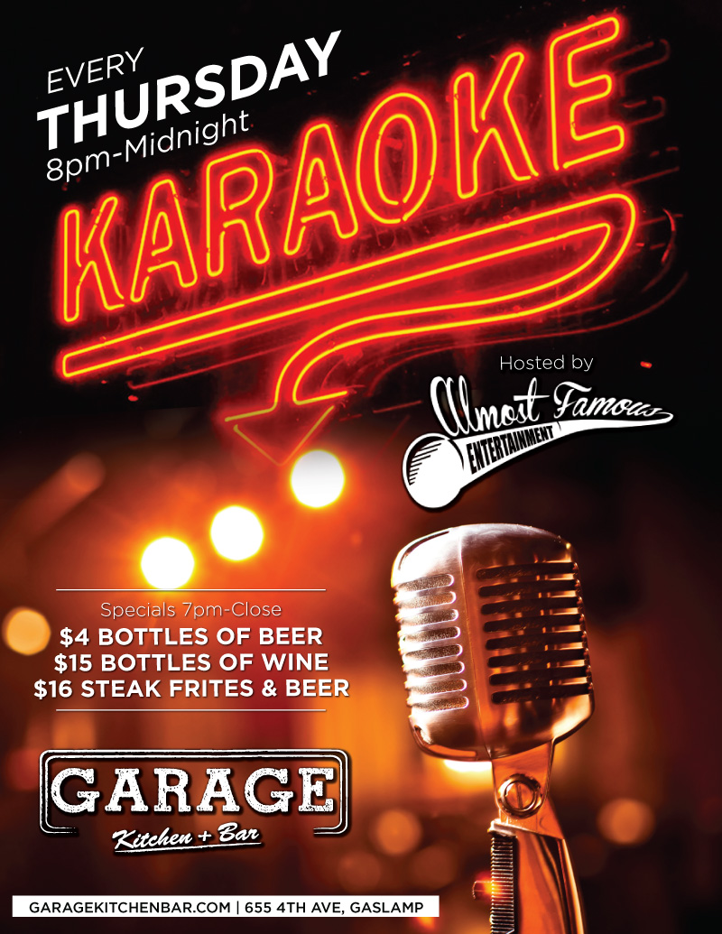 Garage-Thursday-Karaoke gaslamp san diego