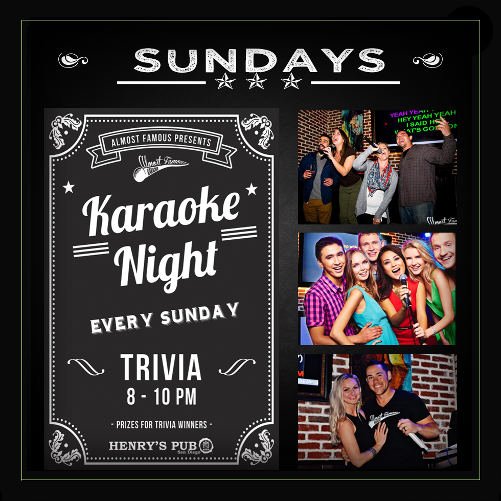 Henrys-Pub-Sunday-Karaoke-and-Trivia gaslamp san diego