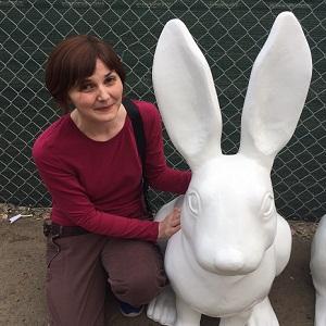 Sarah meets her rabbit