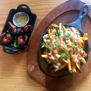 Chowder Fries, Molasses Bacon Wrapped Shrimp