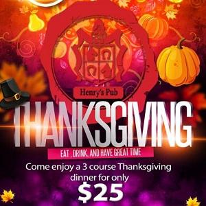 downtown san diego gaslamp quarter Henry's Pub Thanksgiving celebration!