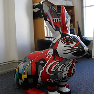 Side view Rudy the Coca-Cola Rabbit