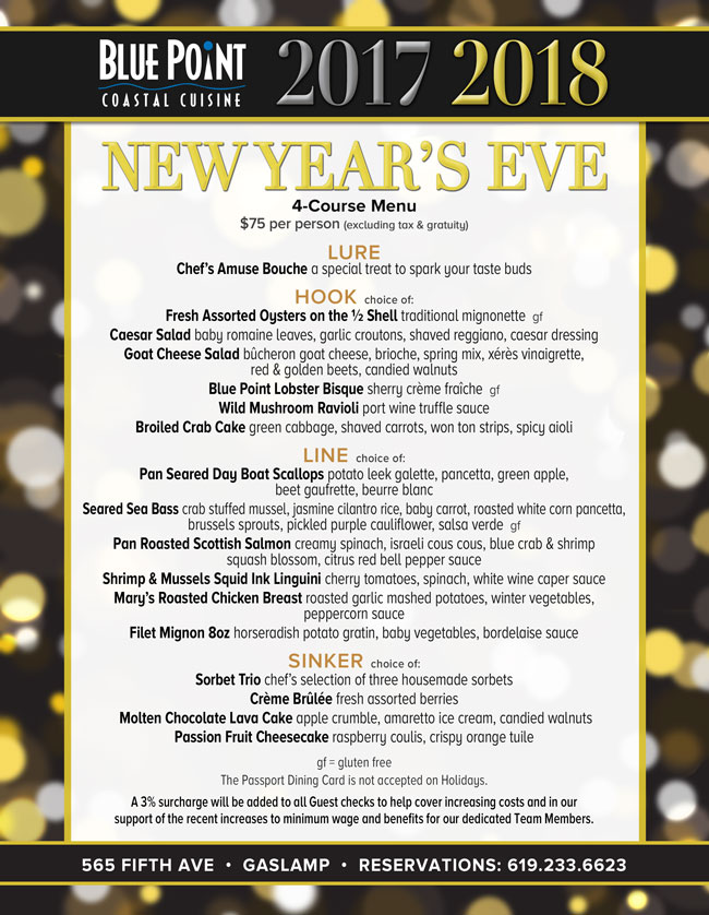 downtown san diego gaslamp quarter new year's blue point coastal cuisine