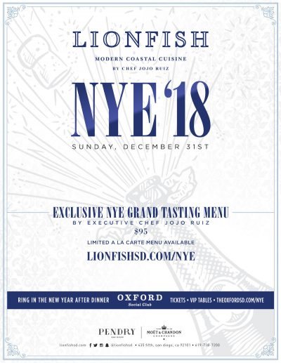 downtown san diego gaslamp quarter new year's lionfish coastal cuisine