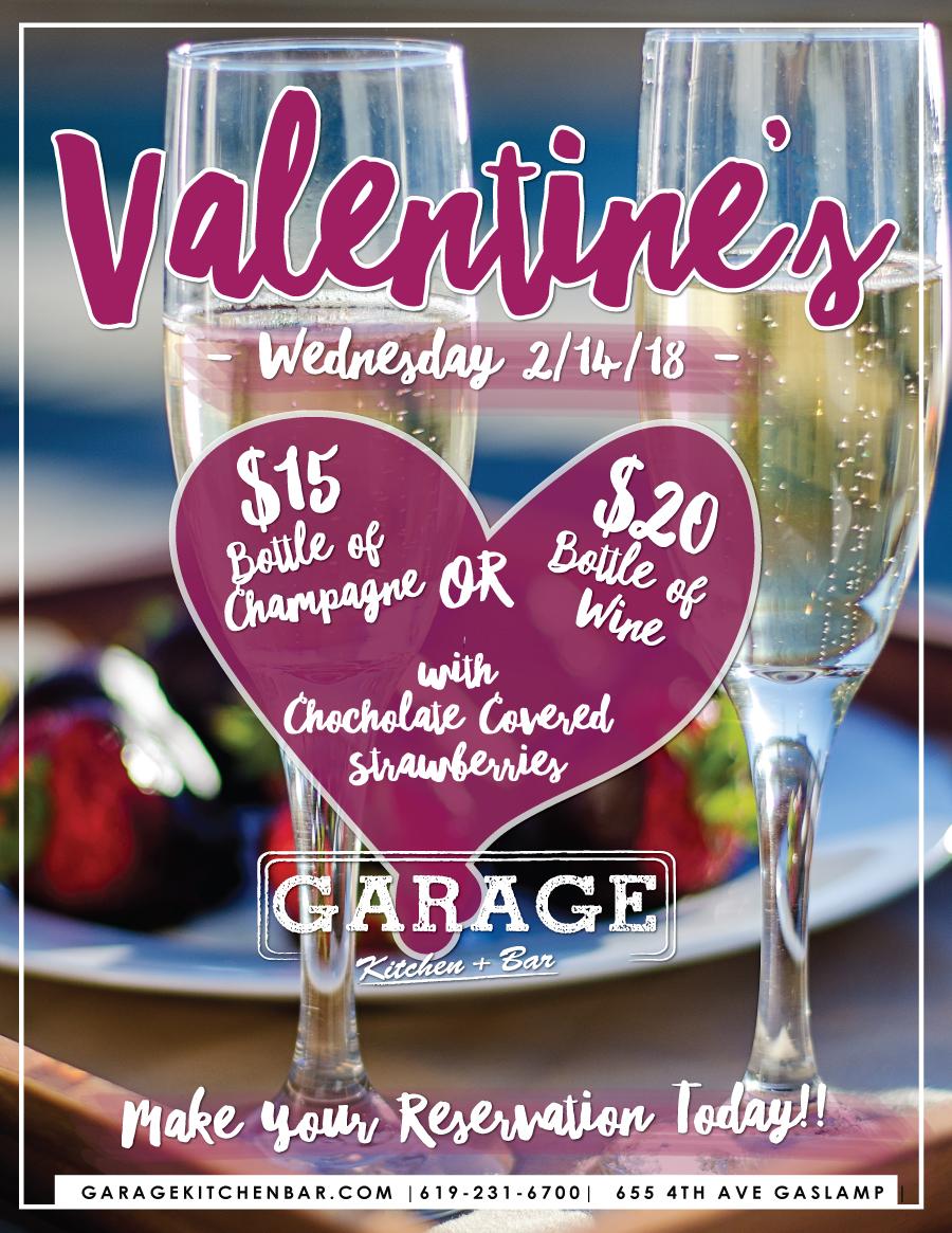 downtown san diego gaslamp quarter valentine's day garage kitchen and bar