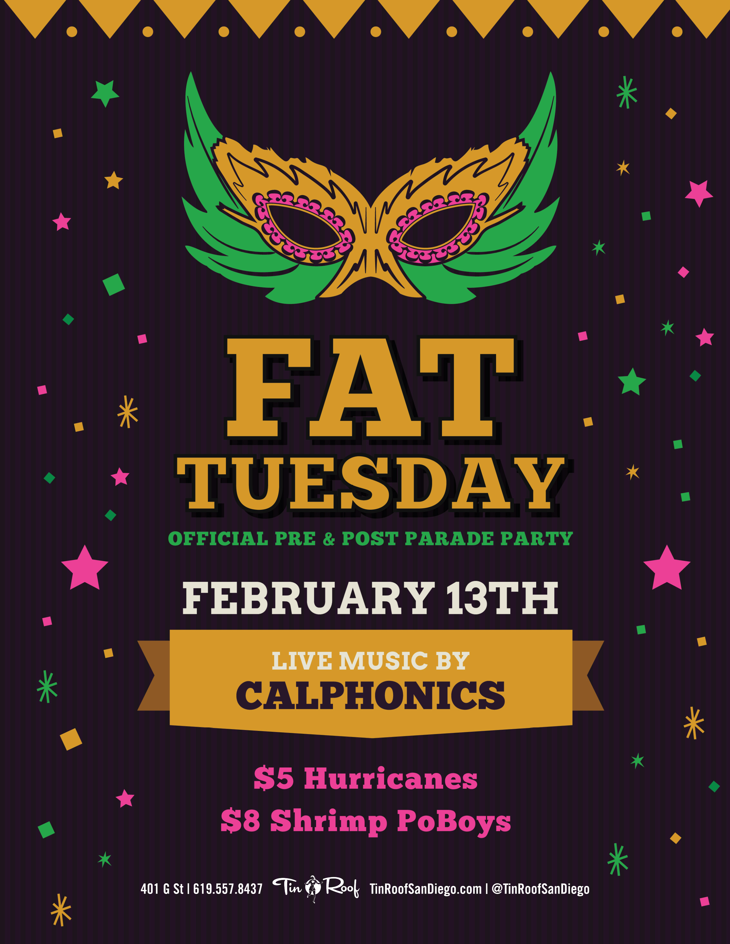 Tin-Roof-fat-tuesday-2018 gaslamp san diego