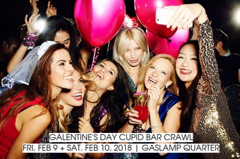 downtown san diego gaslamp quarter valentine's day galentine's day cupid bar crawl