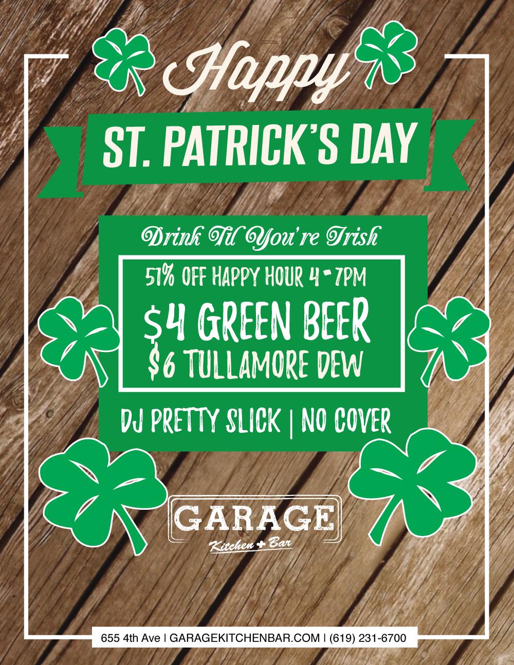 downtown san diego gaslamp quarter saint patricks day garage kitchen and bar