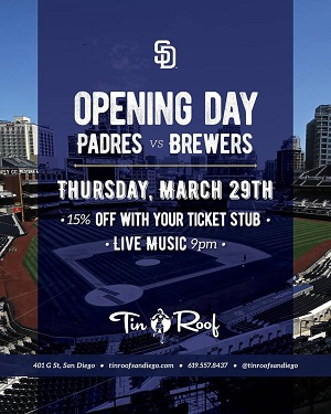 downtown san diego gaslamp quarter padres opening day tin roof