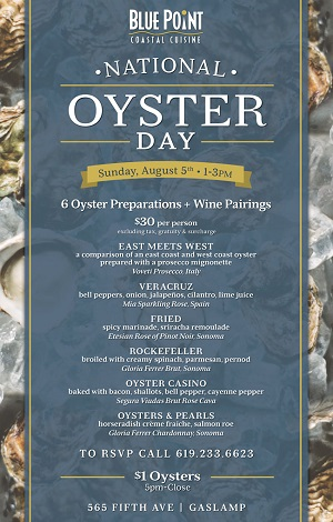downtown san diego gaslamp quarter national oyster day blue point coastal cuisine