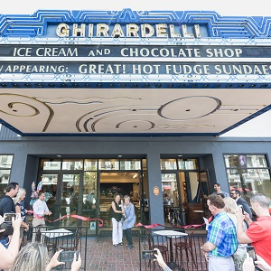 downtown san diego gaslamp quarter new ghirardelli ice cream and chocolate shop