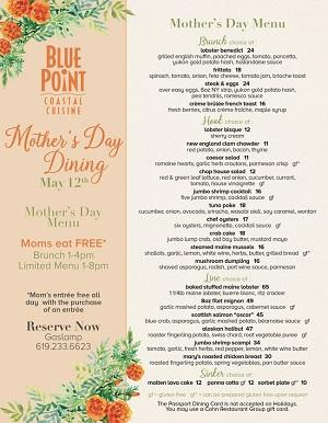 blue-point-coastal-cuisine-mothers-day gaslamp san diego