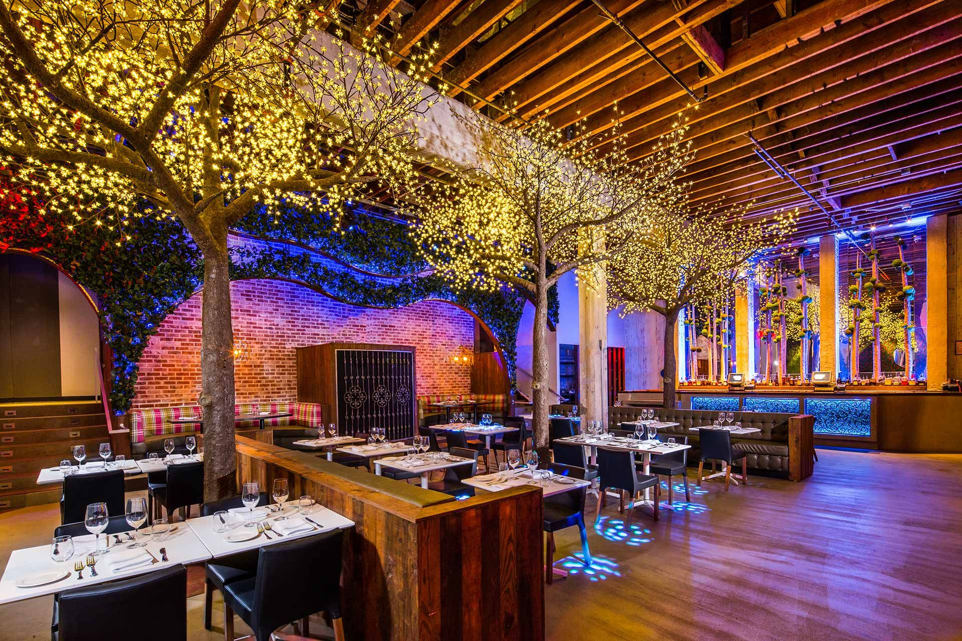 Twinkling indoor trees set the stage for a magical dinner.